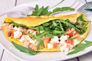 Omelett mit Stremellachs und Fetakäse