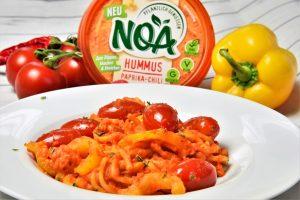 Vegane Spaghetti mit NOA Hummus Paprika-Chili